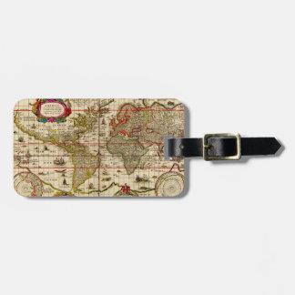 1600 s mapa del mundo - etiqueta del equipaje