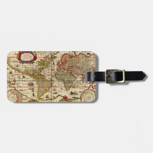1600's mapa del mundo - etiqueta del equipaje etiquetas bolsas