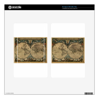 1600s original painted world map kindle fire skin