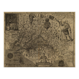 1606 Map of Virginia Poster