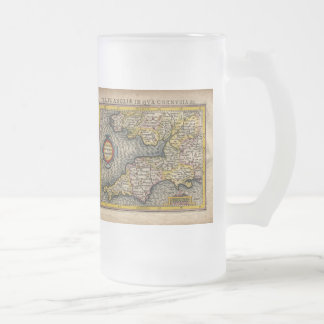 1610 Map of Cornwall, Devon, Somerset, etc... Frosted Glass Beer Mug