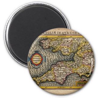 1610 Map of Cornwall, Devon, Somerset, etc... Magnet