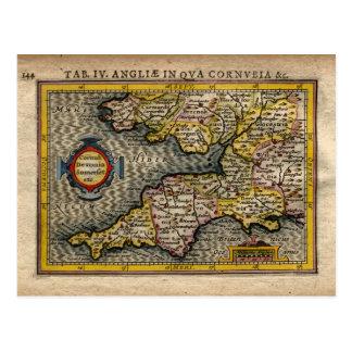 1610 Map of Cornwall, Devon, Somerset, etc... Postcard