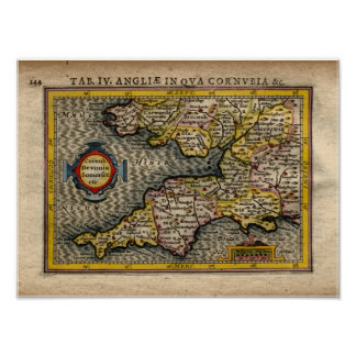 1610 Map of Cornwall, Devon, Somerset, etc... Posters