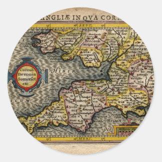 1610 Map of Cornwall, Devon, Somerset, etc... Classic Round Sticker