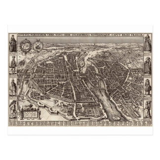 1618 Map of Paris by Claes Jansz. Visscher Postcard