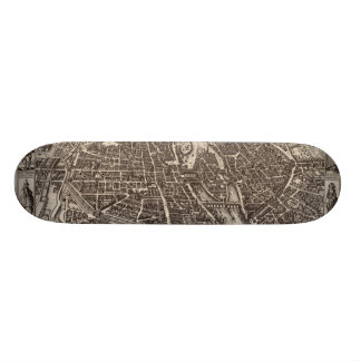 1618 Map of Paris by Claes Jansz. Visscher Skateboard