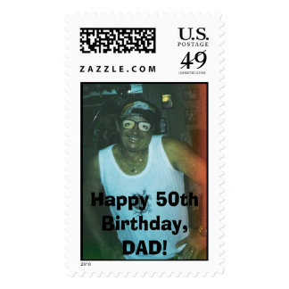 162567242305_0_ALB, Happy 50th Birthday, DAD! Postage Stamp