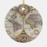 1626 Vintage World Map Ceramic Ornament