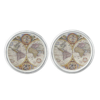 1626 Vintage World Map Cufflinks