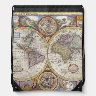 1626 Vintage World Map Drawstring Bag