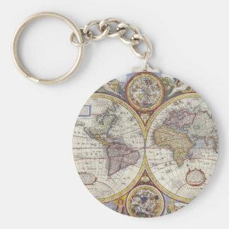 1626 Vintage World Map Key Chains