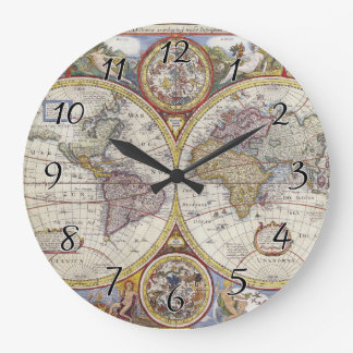 1626 Vintage World Map Large Clock