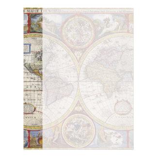 1626 Vintage World Map Customized Letterhead