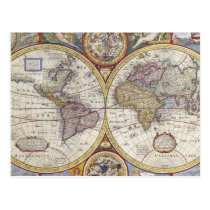 1626 Vintage World Map Postcard