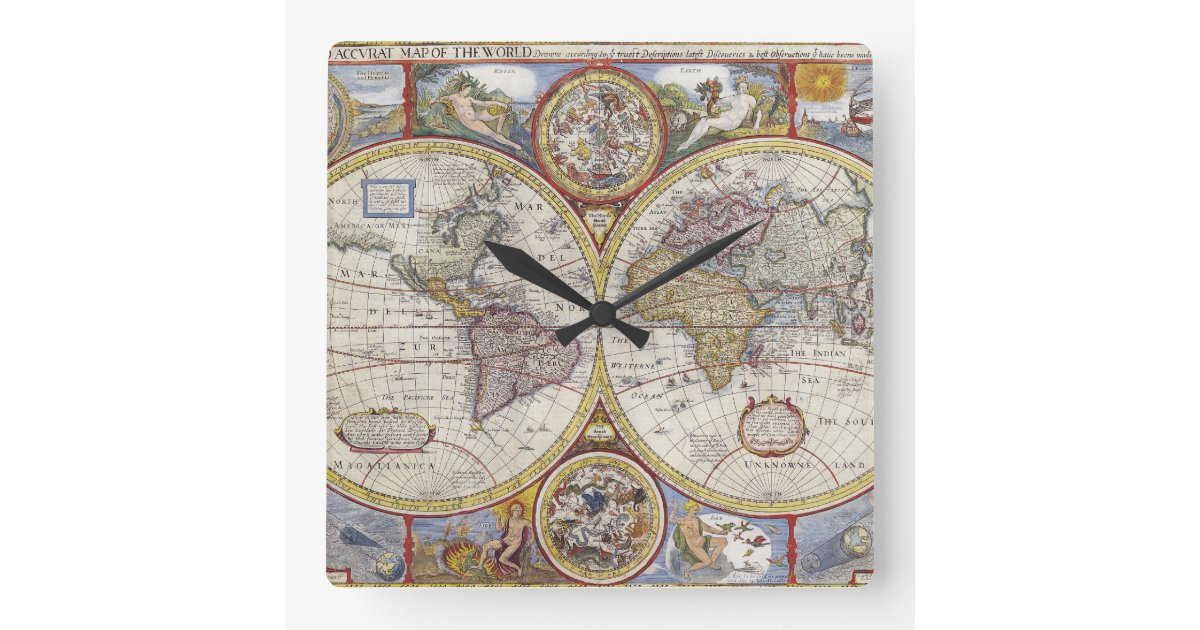 A New And Accvrat Map Of The World 1626.1626 Vintage World Map Square Wall Clock Zazzle Com