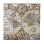 1626 Vintage World Map Tile