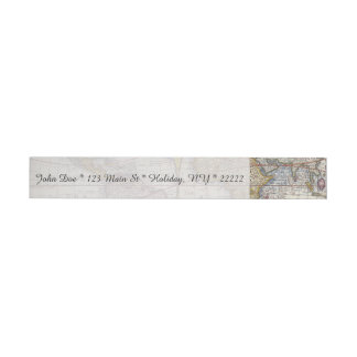 1626 Vintage World Map Wrap Around Address Label