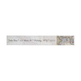 1626 Vintage World Map Wrap Around Address Label