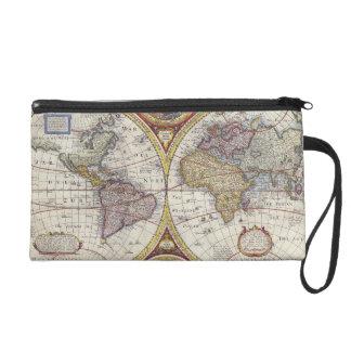 1626 Vintage World Map Wristlet Purse