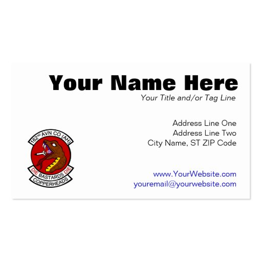 162nd Avn Co. (AH) Copperheads Business Card Templates