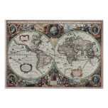 1630 Map of the World Posters