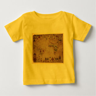 1633 Atantic Ocean Portolan Chart - Pascoal Roiz Baby T-Shirt