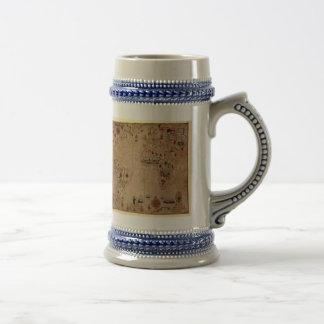 1633 Atantic Ocean Portolan Chart - Pascoal Roiz Beer Stein