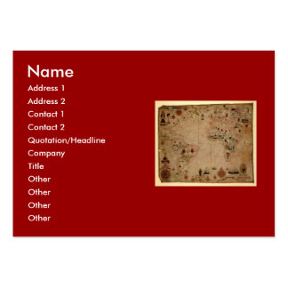 1633 Atantic Ocean Portolan Chart - Pascoal Roiz Large Business Cards (Pack Of 100)