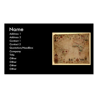 1633 Atantic Ocean Portolan Chart - Pascoal Roiz Double-Sided Standard Business Cards (Pack Of 100)