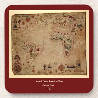 1633 Atantic Ocean Portolan Chart - Pascoal Roiz Coaster