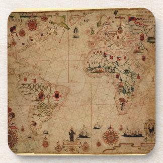 1633 Atantic Ocean Portolan Chart - Pascoal Roiz Drink Coaster
