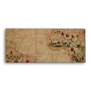 1633 Atantic Ocean Portolan Chart - Pascoal Roiz Envelope