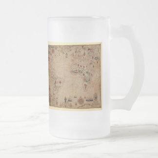 1633 Atantic Ocean Portolan Chart - Pascoal Roiz Frosted Glass Beer Mug