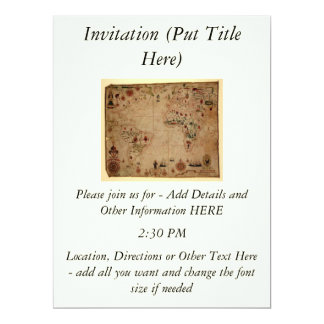 1633 Atantic Ocean Portolan Chart - Pascoal Roiz 6.5x8.75 Paper Invitation Card