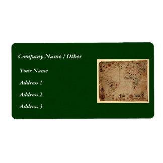 1633 Atantic Ocean Portolan Chart - Pascoal Roiz Shipping Label