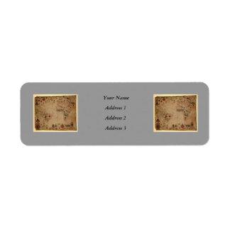 1633 Atantic Ocean Portolan Chart - Pascoal Roiz Return Address Label