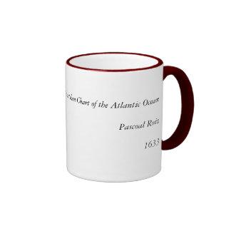 1633 Atantic Ocean Portolan Chart - Pascoal Roiz Ringer Coffee Mug
