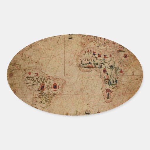 1633 Atantic Ocean Portolan Chart - Pascoal Roiz Oval Sticker