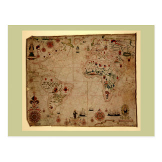 1633 Atantic Ocean Portolan Chart - Pascoal Roiz Post Card