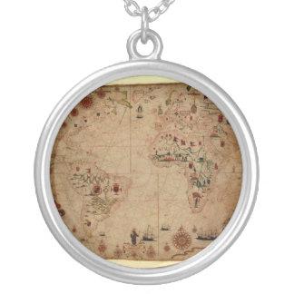 1633 Atantic Ocean Portolan Chart - Pascoal Roiz Silver Plated Necklace