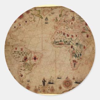 1633 Atantic Ocean Portolan Chart - Pascoal Roiz Round Stickers