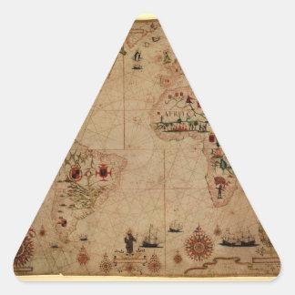 1633 Atantic Ocean Portolan Chart - Pascoal Roiz Triangle Sticker
