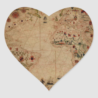 1633 Atantic Ocean Portolan Chart - Pascoal Roiz Stickers