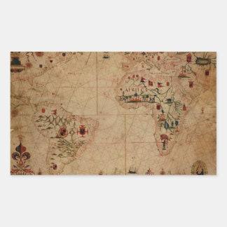 1633 Atantic Ocean Portolan Chart - Pascoal Roiz Rectangular Sticker