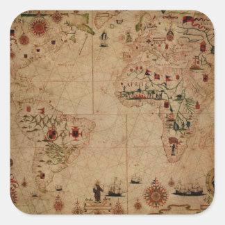 1633 Atantic Ocean Portolan Chart - Pascoal Roiz Square Sticker