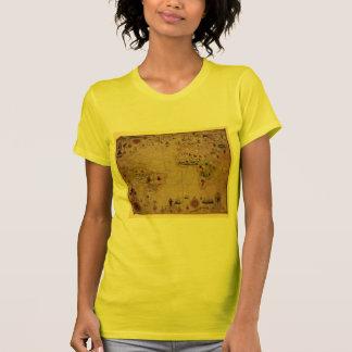 1633 Atantic Ocean Portolan Chart - Pascoal Roiz T Shirt