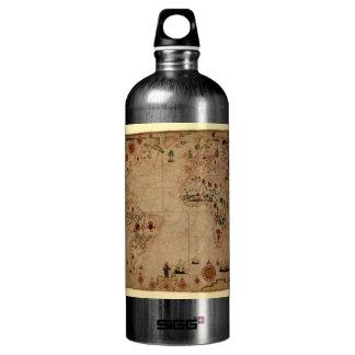 1633 carta de Portolan del océano de Atantic - Botella De Agua