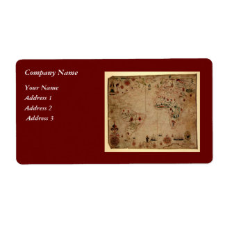 1633 carta de Portolan del océano de Atantic - Etiqueta De Envío
