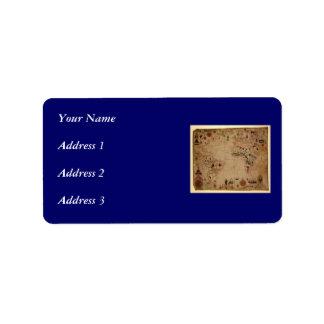 1633 carta de Portolan del océano de Atantic - Etiquetas De Dirección